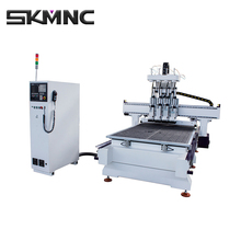 SKMNC Low Price and High Speed Cnc Auto Tool Changer Four- Process Woodworking Machinery For Panel Furniture and Door