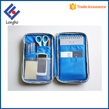 Multipurpose wholesale price exterior big phone pocket & inner 5 slip pockets thin double side pencil case with logo
