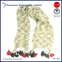 New Design 100% Acrylic Girls Kids Child Knitted Scarf Muffler With Fringers