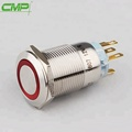 19mm diameter stainless steel momentary push button switch with ring Red 48v LED