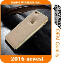 2016 new arrival Metal+leather mobile phone case for samsung s7 s7 edge
