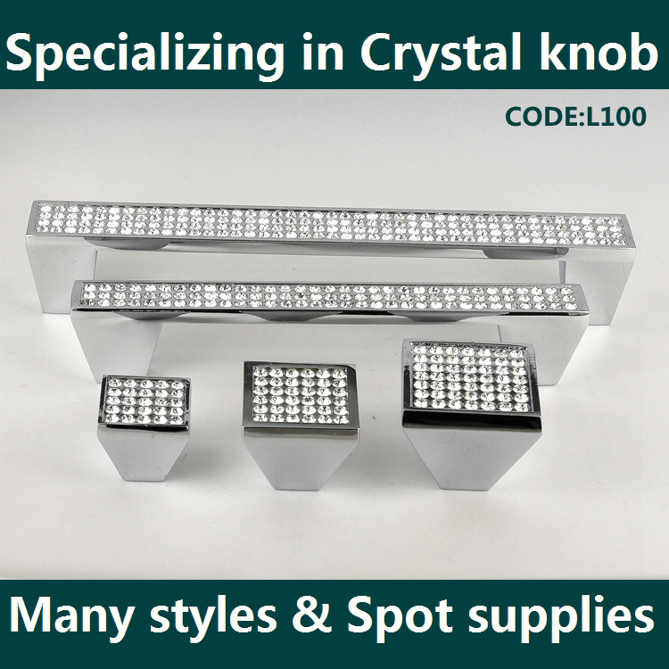 Factory Sale special design crystal drawer pulls and knobs with different size