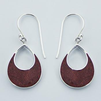 Small Vivid Sponge Coral Silver Framed Earrings Open Drops