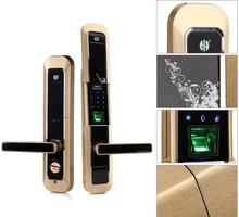 Semiconductor Fingerprint Reader Touch Screen Door Lock with Sliding Cover
