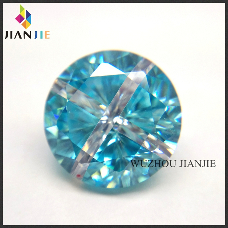 Factory Wholesale Price Aquamarine and White Round Cross CZ Synthetic Gem Cubic Zirconia Stone