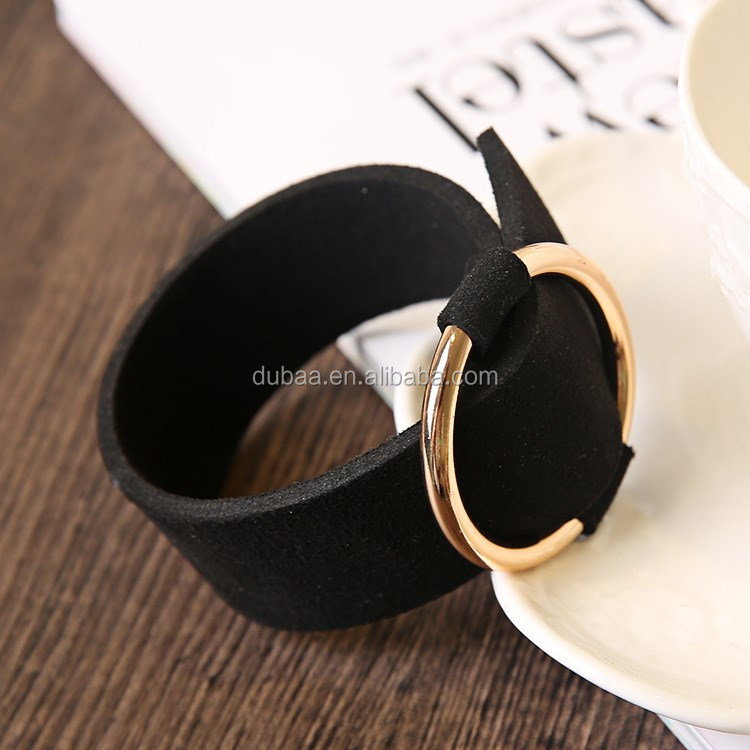 Wide Black Punk Leather Bangle Bracelet with Adjustable Gold/Silver Loop Circle for Lady