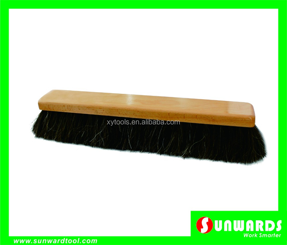 Floor Sweeping Broom with Lacquered Wooden Block,Stiff Black Horsehair&Poly