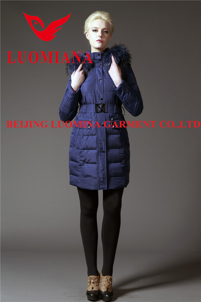 Hot sales womens feather down filled winter coat