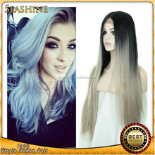 Brazilian virgin straight hair Ombre Grey straight Lace Front Wig Natural Black 1B/Gray