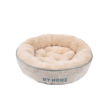 Durable using gray round plush luxury polyester pet dog bed