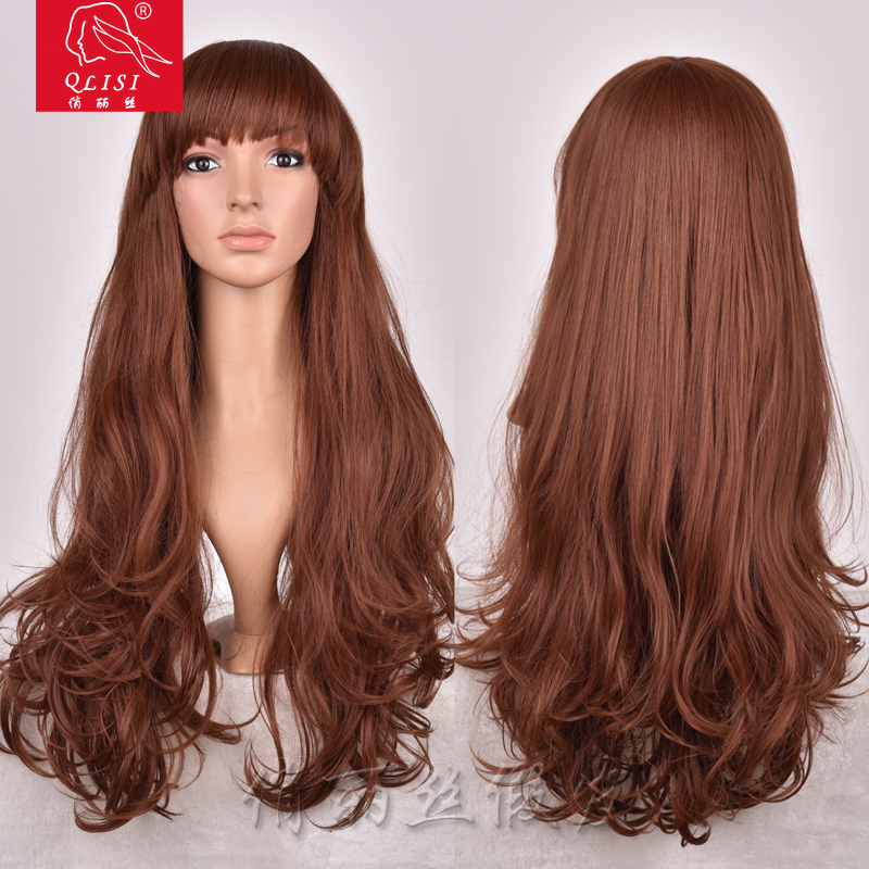 Bob Style Long Brown Synthetic Wig Loose Wave
