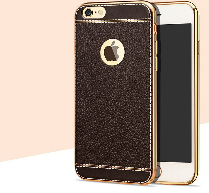 electroplate tpu bumper with leather lichee pattern back cover for apple iphone 7 case, leather cover for iphone 7 case