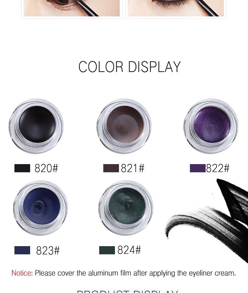 24hour lasting waterproof smudge-proof gel liner eyeliner makeup make your logo eyeliner gel