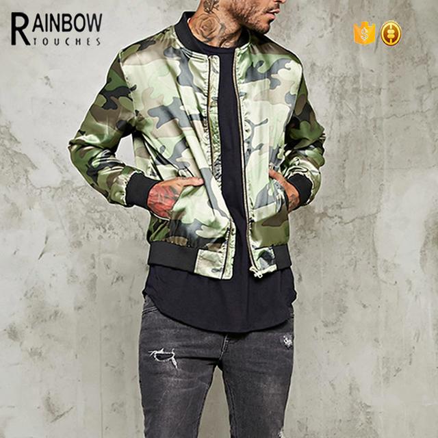 OEM Custom 100% Polyester Made Satin Camouflage Winter Bomber Jacket For Men