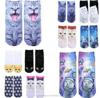 japanese style cat pattern 3D-print girl tube socks