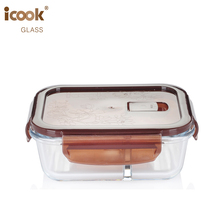 Microwavable High Borosilicate Glass Crisper With Lid 2 Compartment Meal Prep Containers
