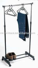 Portable metal hanging single pole telescopic clothes rack