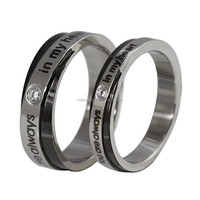 "Stainless Steel Couples Ring ""You are always in my heart"" for Lovers Engagement Promise,Black & Silver"