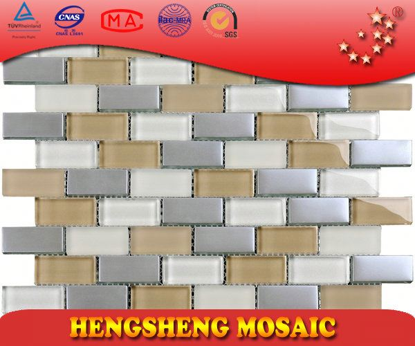 New Design Chinese Foshan Plating Strip Cube Glass Mosaic swimming pool bullnose tile