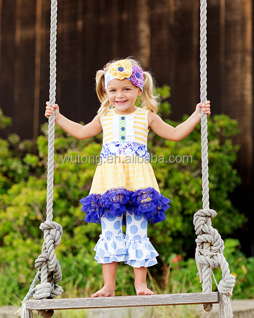 Wholesale Toddler Giggle Moon Remake Girls Outfits Boutique Little Girls Flower Net Yarn Dress And Dots Pants Outfits