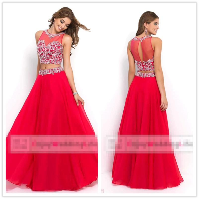 Buy Fast Shipping Fuchsia Chiffon Sequins With Beaded 2 Piece A Line