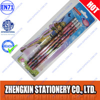 4pcs cool pencil and eraser in blister card