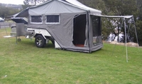 Travel Trailer motorcycle Camper Trailer with Roof Top Tent