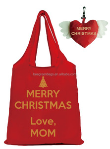 Sweet christmas foldable shopping tote gift polyester bag with cute pouch for mom love