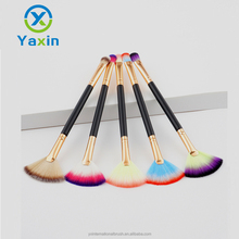 Single packaging double head makeup brush cosmetic/custom logo fan brush