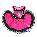 NEW Black Polka Dots Hot Pink Lace Heart Tutu Pets Dogs Clothes Party Dress XS-L