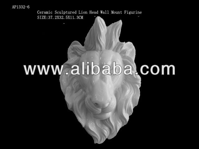 ceramic sculptured Lion head wall mount figurine