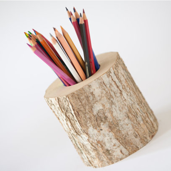 Custom antique wooden stationery pencil holder