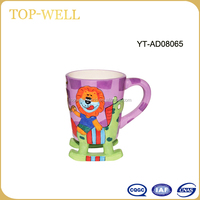 ceramic girl riding wooden horse shaped mug,funny children cup