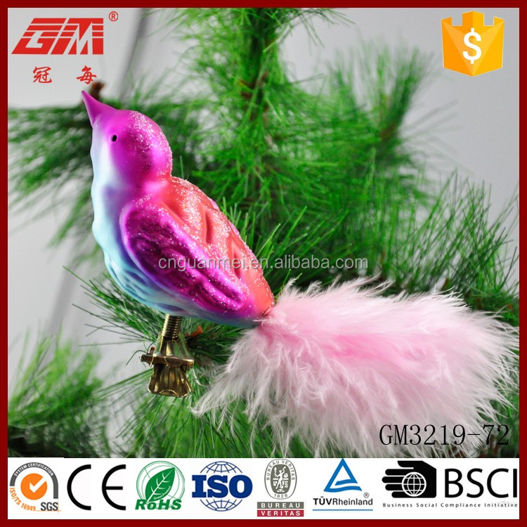 Factory direct sell hand blown colored glass birds