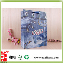 Jeans design gingham gift paper bags for cloth