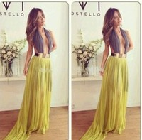 2015 New Style Sexy Night Party Chiffon Prom Dress Hollow Out Evening Dress Long Maxi Lace Dress