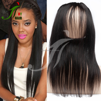 China Factory Price 130% Density Brazilian Virgin Silky Straight 360 Human Hair Lace Frontal Piece