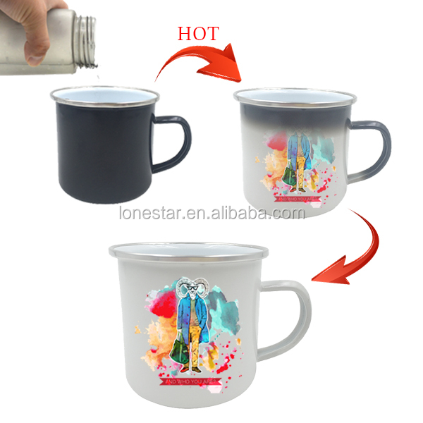2017 new item halloween 450ml purple customizable printing iron cast enamel hot color changing cup