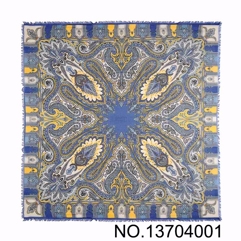 Womem Auttumn Royalblue Square paisley Print Scarf