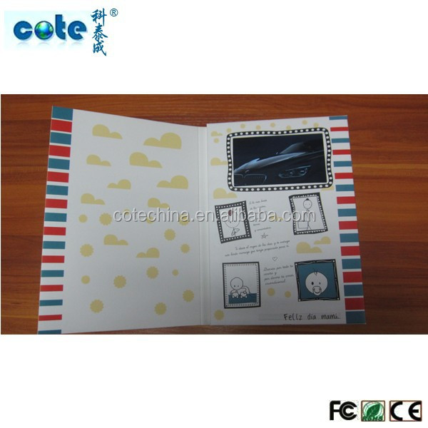4.3''5'' 7'' Hot sale!!! high quality video brochure with A5 A4 A6 ect card sizer / lcd video book/ video card in print