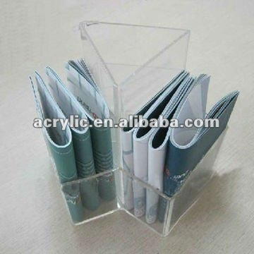 clear acrylic tabletop 3 pockets display stand/holder