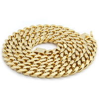 "Mens 14k Gold Plated Heavy Thick Cut Hip Hop Chain 24"" Cuban Necklace"