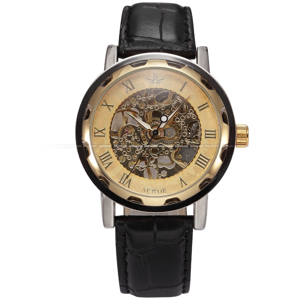 SEWOR 2015 Golden Skeleton Watches Male Mechanical Hand Wind Relogio Masculino Leather Strap Wristwatches Men's Casual Watch