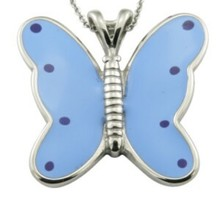 Romantic blue butterfly stainless steel enamel pendant.