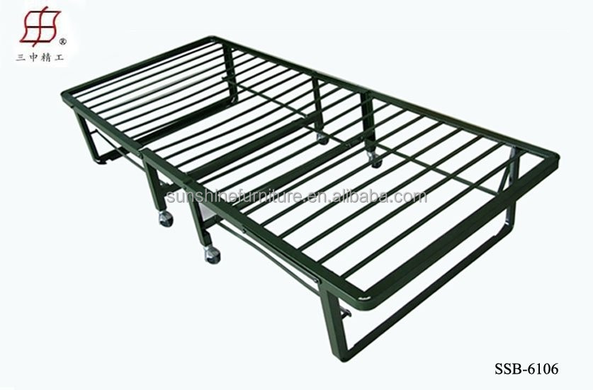 Cheap Portable Single Size Metal Wooden Slat Folding Bed Bedstead