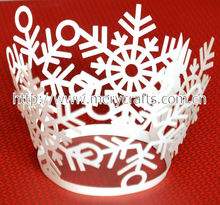 Laser cut snowflake cupcake wrappers hot Christmas decoration