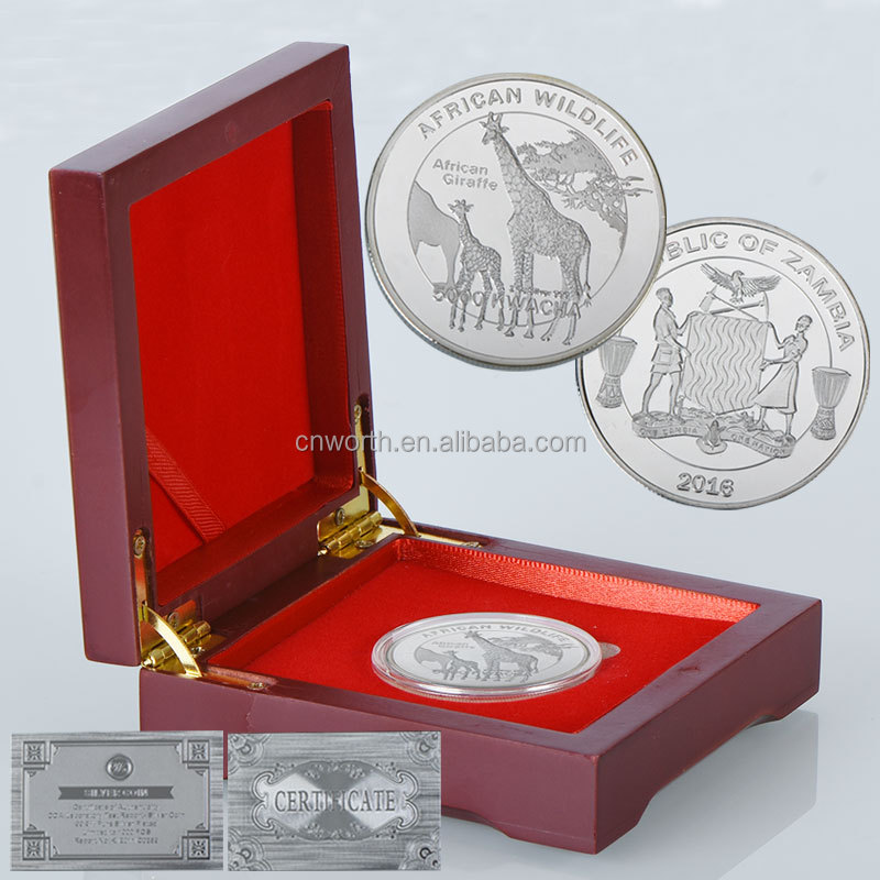 WR Luxury Gift Giraffe 999 Silver Plated Coin Metal Art Crafts Customized Africa Wildlife Animal Coins with Wooden Box