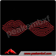 Jewlery red mouth rhinestone trimming hotfix motif design