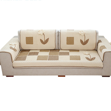 2018 New design all-match floral applique protective beige patchwork sofa cover