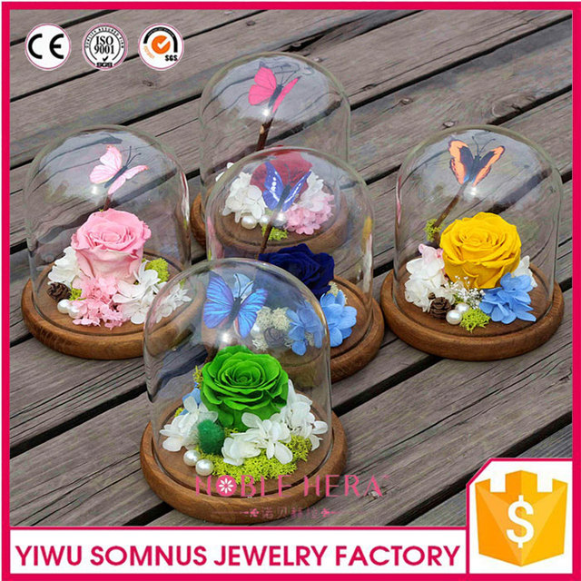 Dried Flower in Glass Cheap Crystal Gifts